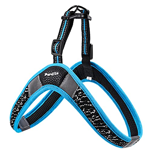 Pordlie Dog Harness No Pull, Easy On and Off Ultra Soft Breathable Padded Pet Vest Harness, Adjustable Reflective Top Paw Dog Harness for Small Medium Large Dogs (Large, Black-Blue)