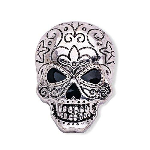 CHUYUN Vintage Silver Crystal Halloween Skull Head Brooch Pin for Shirt (B)