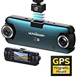 UltraDash Dash Cam, Telephoto Zoom-in + Wide Angle Lens, Dual Full HD 1080P@30fps, Magnetic GPS Charging Mount, HDR High-end Night Image Sensor, G-Sensor, 2 Inch LCD, Super Capacitor, Loop Recording