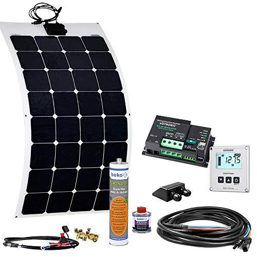 Offgridtec Wohnmobil Solaranlage SPR-F-100 110W 12V mit flexiblem Solarmodul und MPPT Dual Laderegler