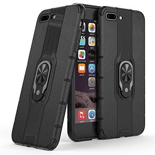 Haiqing Carcasa protectora híbrida de doble capa con soporte de anillo giratorio compatible con iPhone 7 Plus/8 Plus (5.5 pulgadas) (color negro)