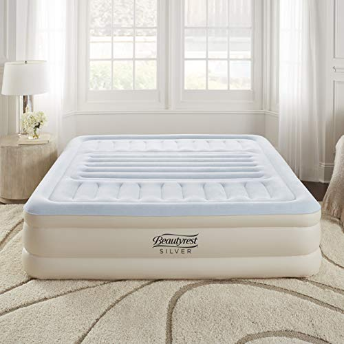 """Simmons Beautyrest Lumbar Supreme Adjustable Tri-Zone Support Air Bed Mattress with Built-in Pump, Silver, 18"""" King"""