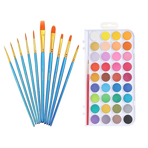 Xpassion 10Pieces Round Pointed Tip Nylon Hair Artist Brush Set with 36Colors Watercolor Paint Set