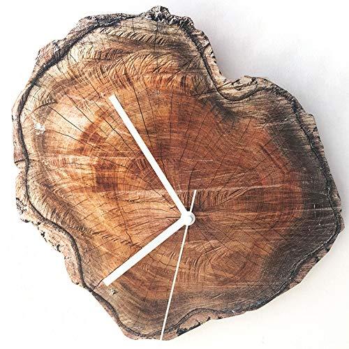 Yoillione Wall Clock Vintage Wanduhr Holz Wanduhr Ohne Tickgeräusche,Nicht Tickende Uhr Wand Holz,Rund Quarz Wanduhr Landhausstil Wanduhren für Wohnzimmer,Küche,Und Schlafzimmer/Echtholz Designuhr