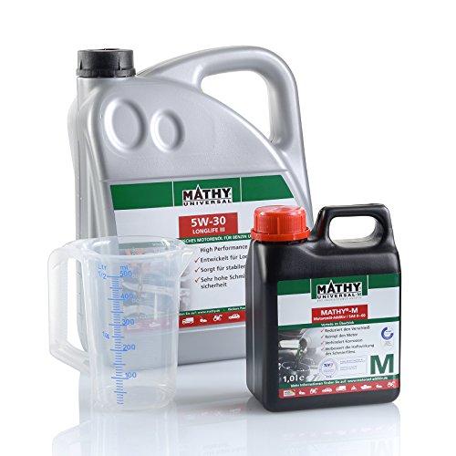 MATHY motorolie en reiniger voor motor benzine en diesel olieverversingsset SAE 5W-30 Longlife III