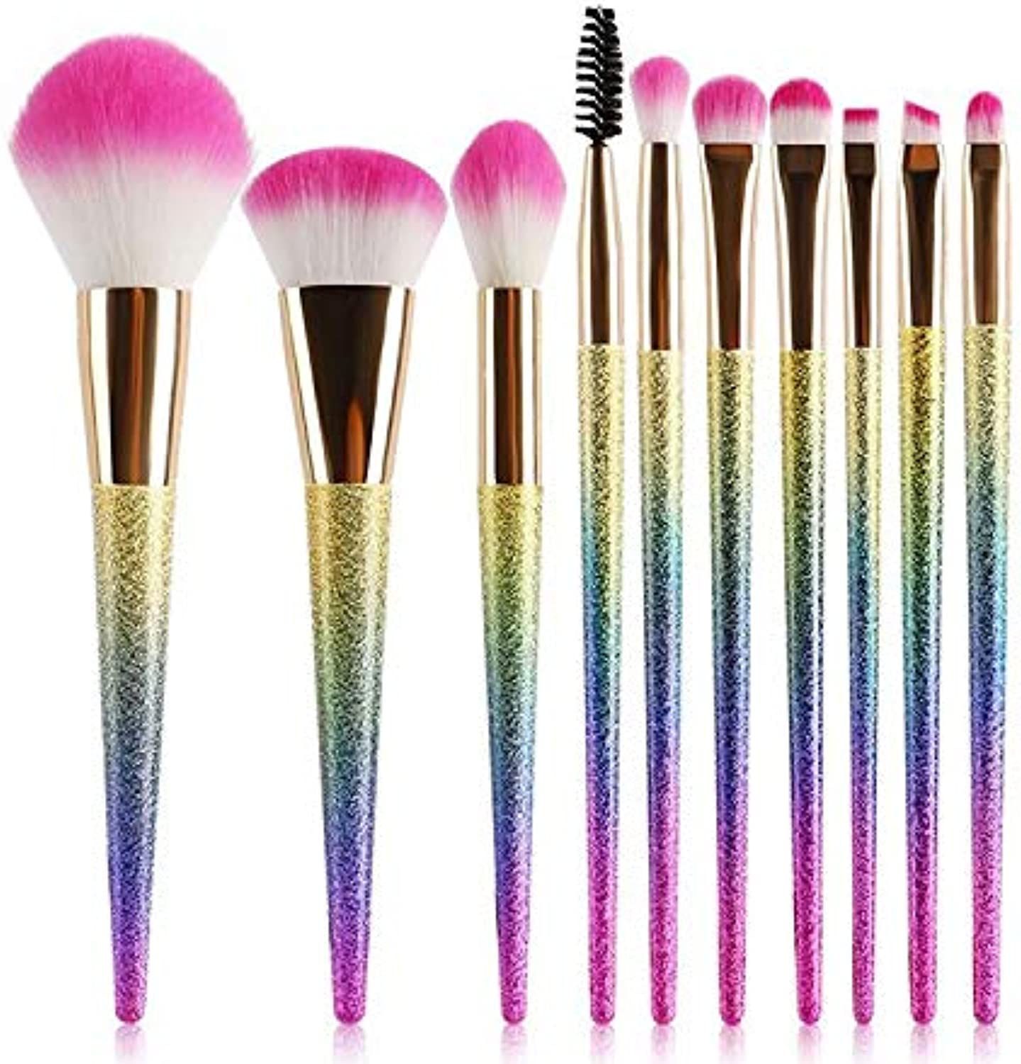 Fashion 10PCS Modern Frosted Handle Makeup Brush(colorful) with OPP Bag for Eye Shadow Brow Eyeliner Smoky Pointed Pretty (color   colorful, Size   17  11  2)