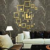 SARUI Reloj de Pared de Espejo Creativo de Bricolaje, Reloj de Pared Tridimensional de Cubo Combinado, Hora silenciosa para la decoración de la Sala de Estar-Dorado