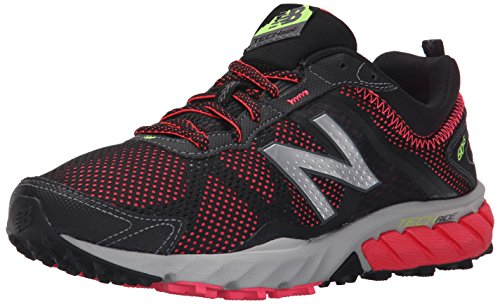 New Balance Women's 610 V5 Trail Running Shoe, Black/Pink, 8 B US