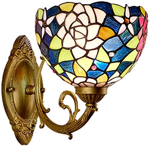 QEGY Luz de pared de vidrio estilo tiffany, lámpara de pared vintage dormitorio rojo rosa flor decoración retro pared lavado luces azul verde sombra e27 iluminación de pared accesorios para el pasillo