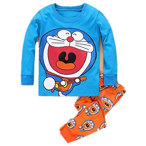 SUMHOM Pijamas de Manga Larga para niños de Primavera y otoño, Homewear de Doraemon de Dibujos Animados-Escribe un_110cm / 5 años