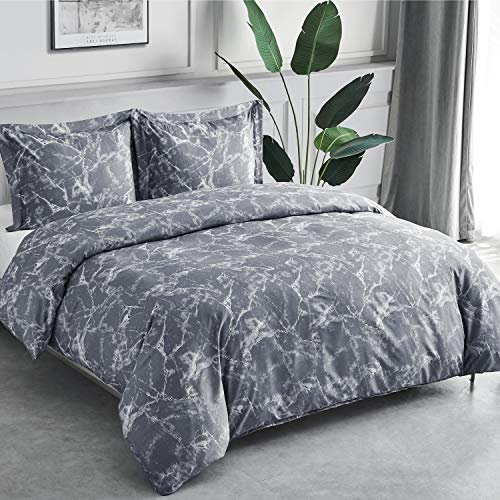 Bedsure Printed Duvet Cover Set Single Size Grey Marble Pattern 2 pcs with Zipper Closure + 1 Pillowcase - Ultra Soft Hypoallergenic Microfiber Quilt Cover Sets 135x200cm