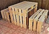 Esstischgarnitur aus Paletten Esstisch Wohnzimmer Gartentisch Palettentisch Gartenmöbel Shabby Chic antik Palettenmöbel Holztisch vintage