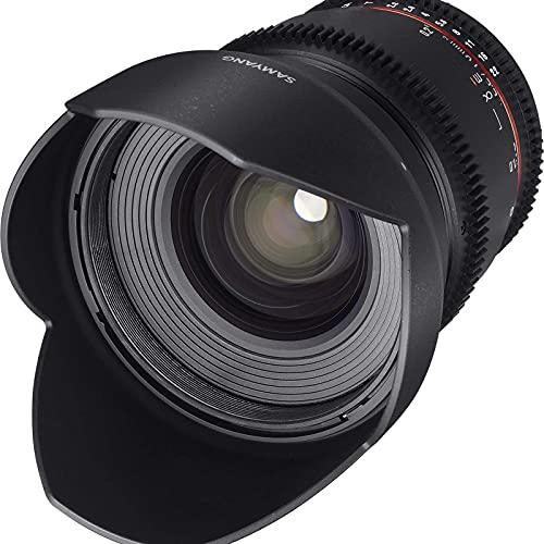Samyang F1322703101 - Objetivo para vídeo VDSLR para Nikon F (Distancia Focal Fija 16mm, Apertura T2.2-22 ED AS UMC CS II, diámetro Filtro: 77mm), Negro
