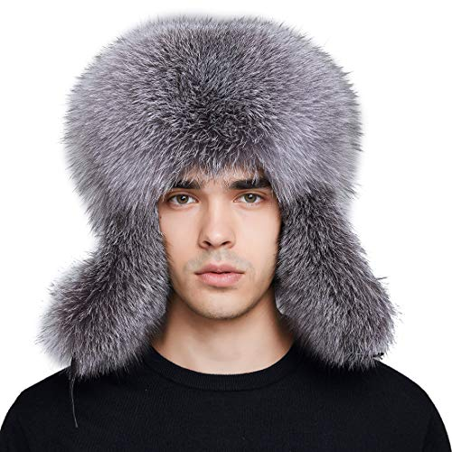 BeFur Men Tough Headwear Trapper Hat with Real Fox Fur and Ear Flaps Ushanka Aviator Russian Hat for Winter