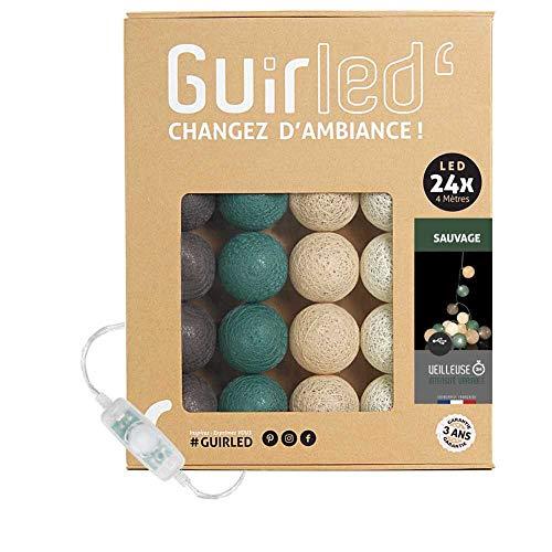 Guirnalda luminosa bolas de algodón LED USB- Luz de noche para bebé 2h - Adaptador de corriente dual USB 2A incluido - 3 intensidades - 24 bolas 4m - Sauvage