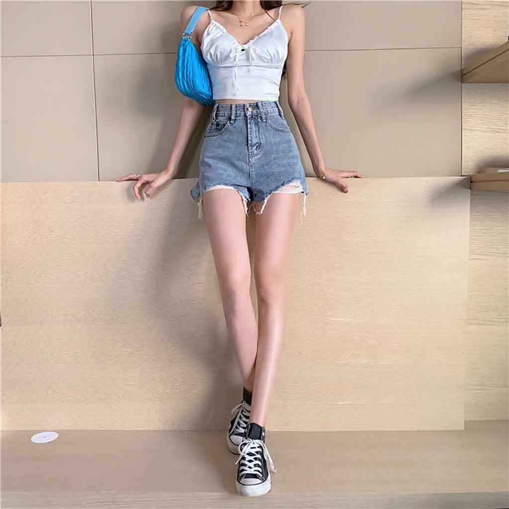 EEKLSJ Ladies Summer Loose High Waist Was Thin Frayed Frayed Fashion Casual Wild Wide Leg Denim Shorts (Color : A, Size : Large size)