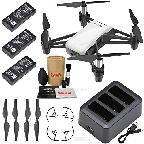 Price comparison product image Tello Drone Quadcopter Boost Combo with 3 Batteries,  Charging Hub,  and Surmik Drone Care Kit