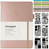 Bullet Cuaderno A5 Journal | Libretas Bonitas Puntos con Pegatinas extra y Pantillas | Libreta de puntos Dotted Notebook | The Essential por Ottergami (Oro Rosa)