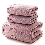 S-L Juego Toallas Conjunto de Toalla de 3 Piezas para Adultos 1 Toalla de baño Grande / 2 Toallas de Cara 100% algodón Grueso Agua Suave Secado rápido (Color : Purple)