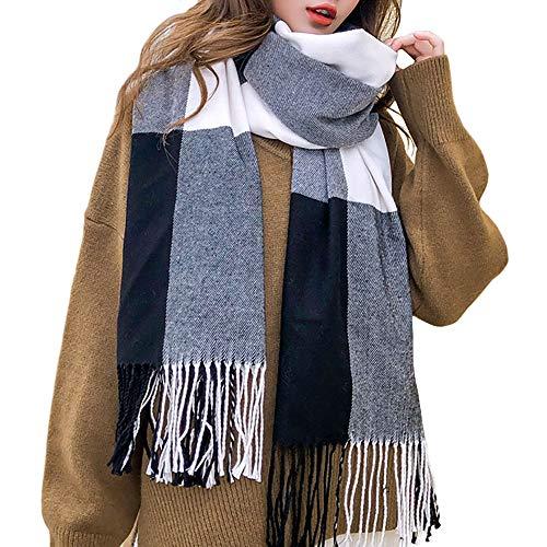Chailer Winter Scarfs for Women Warm Thick Plaid Blanket Scarf Soft Feel Classic Fashion Shawl with Long Tassels(black)