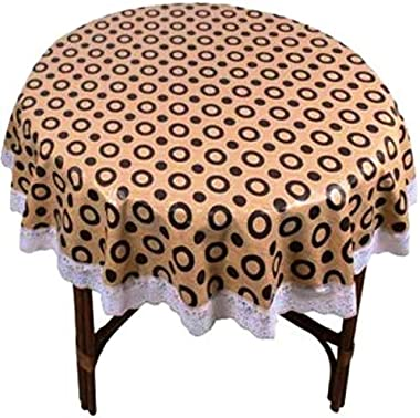Kartikey PVC 2 Seater Circle Printed Center Table Cover Cloth Size 45 inches Brown Color with White Lace - Round Shape