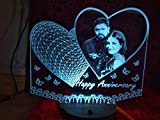 apnaphoto Wooden Heart Shape Illusion Photo Frame LED Lamp Multicoloured 16 Color Changing Customized and Personalized with Any Photo & Name Perfect Wedding For Husband Wife couples 20x18 cm
