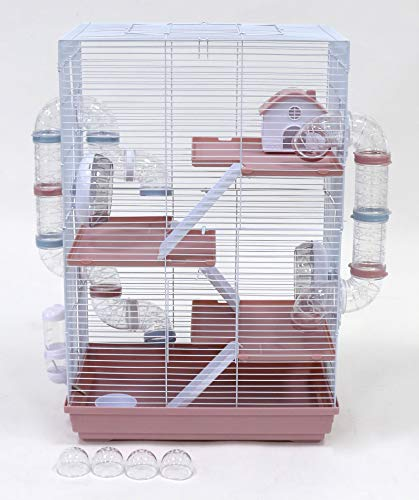Sky Pets Little Zoo Harriet Hamster Cage With Tubes Pink