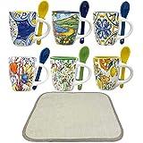 Set Tazzine Caffè Da 6 Pezzi , Tazzine da Caffè, 1 tappetino PVC Tazzine Caffe con Cucchiaino,6 Fantasie Diverse, Tazzine Caffe Particolari, 1 Modello Misto, Porcellana miste