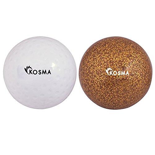 Kosma Satz von 2 Hockey Bälle   Outdoor Sport PVC-Praxis Training Ball (Weiß Dimple, Golden Glitter, 2er-Set)