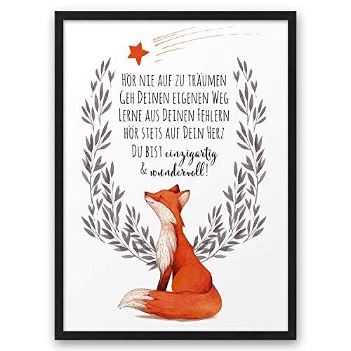 FUCHS Hör nie auf zu träumen ABOUKI Kunstdruck Poster Bild Geschenk-Idee Taufe Geburt Geburtstag Weihnachten Kind Junge Mädchen Baby - ungerahmt DIN A4
