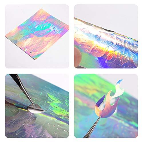 32 PCS Nail Art Aufkleber Feuer Flamme Aufkleber Nagel Sticker Flamme, Aufkleber Flamme Reflexionen Nagel Aufkleber Multicolor Aurora Flamme Applique DIY Maniküre Aufkleber