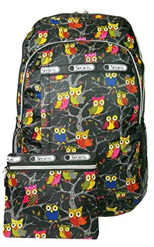 GFM GLÜCKLICH Rucksack für die Schule für Mädchen oder Jungen oder Damen (6215) E1-OT-KL-Eule Dans l'arbre