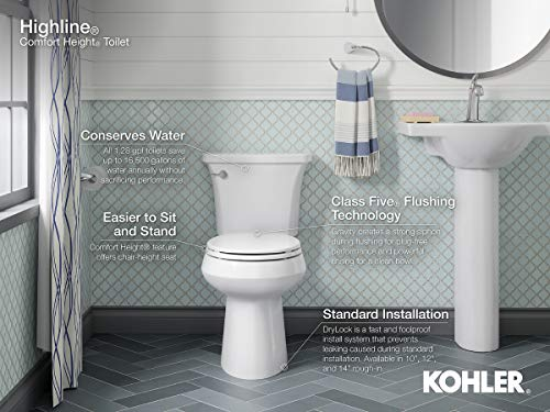 Highline 1.0 GPF Toilet with Class Five Flush Technology and Right-Hand Trip Lever, White