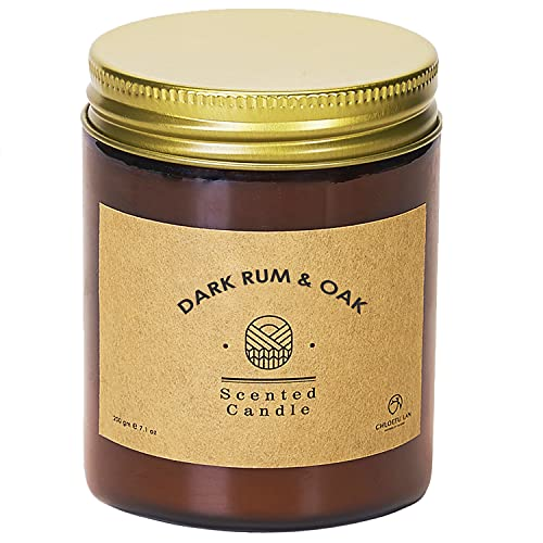 Chloefu LAN Scented Candle for Men Dark Rum & Oak 200g|45 Hour Burning, Basil, Woodiness, Suede Leather and Musk 100% Soy Candles Highly Scented Home Decor Scented Candles Gifts for Women and Men