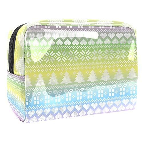 Bolsa de maquillaje portátil con cremallera, bolsa de aseo de viaje para mujeres, práctica bolsa de almacenamiento cosmético, colorido arco iris, patrón geométrico de Navidad