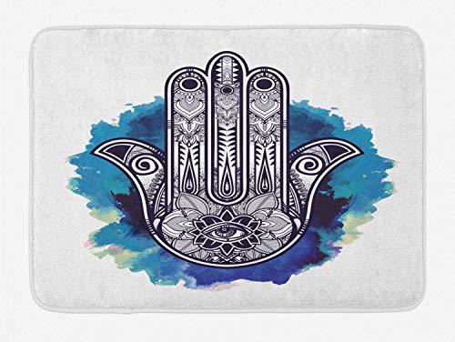 Tapis de Bain Mauvais œil Hamsa sur Aquarelle Coups de Pinceau Toile de Fond Ornement Floral s en Peluche Salle de Bain décor Tapis 50x80 cm
