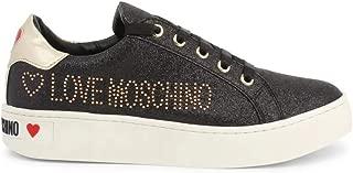 Love Moschino Women Black Gold Logo Glitter Fashion Low Top Sneakers (EU 37)