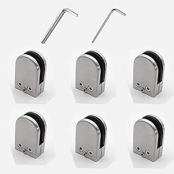8-10mm Acier Inoxydable 304 Pinces en Verre Support en Verre R/églable Support Plat pour Balustrade Escalier Main Courante DMFSHI Pince /à Verre 4 PCS Serrage Verre