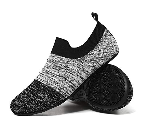 MOHEM Womens Mens Lightweight Summer House Slippers Shoes Soft Sock Shoes with Rubber Sole(MH-Wslippers2237Gray-Black47)