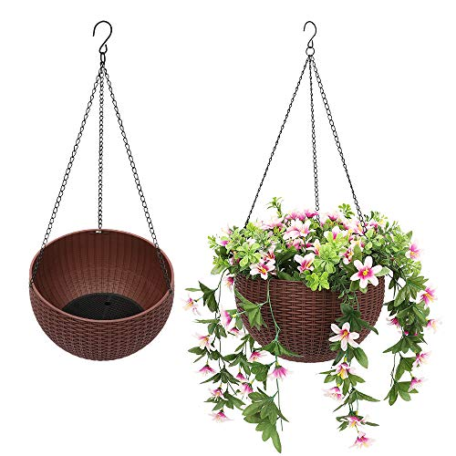Worth Garden 2 Stück Rund Blumenampel aus Kunststoff Pflanzgefäß mit Hängekette Haken Hängeampel Pflanzampel (26,5 cm Durchmesser, Blumen Nicht enthalten, Braun)