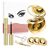 Magnetic Eyelashes with Eyeliner, MS.DEAR 5 Pairs Eyelashes and Magnetic Eyeliner Kit with Tweezers Scissors and 3D Eyelashes Double-layer Box with Mirror Suit for Female Makeup Party (Gold)