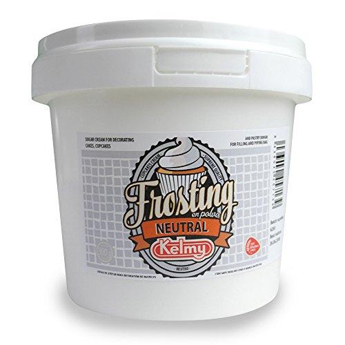 Kelmy Frosting Pulver Neutral, 300g, Creme Glasur für Cupcakes und Kuchen, Buttercreme geschmacksneutral als Tortendekoration, Zuckercreme