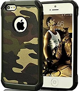 FDTCYDS iPhone 5 case iPhone SE case,Armor Hybrid Rugged Camouflage Case for Apple iPhone 5 / 5S SE - Camo Green