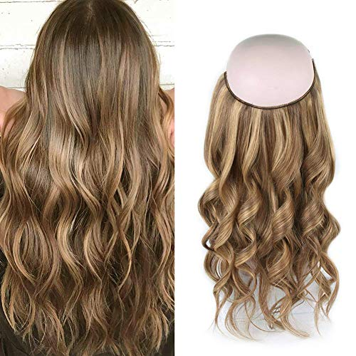 Sassina Halo Human Hair Extensions, Invisible Miracle Wire Hair Fish Line Remy Hair Extension Highlight Chestnut Brown with Dark Dirty Blonde P6/12# 20 Inch 120 Gram