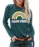 NANYUAYA Women Good Vibes T-Shirt Long Sleeve Rainbow Graphic Top Casual Loose Letter