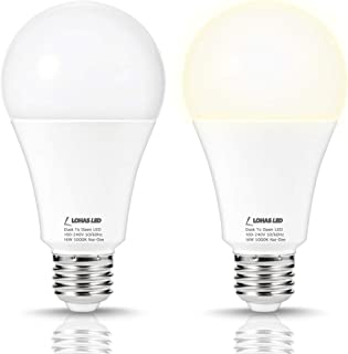 LOHAS Dusk to Dawn LED Light Bulbs, A21 150W Equivalent Sensor Light Bulbs, E26 Base Daylight White 5000K, 1580LM Automatic On/Off LED Bulb for Yard Porch Garage Basement Hallway, Not-Dimmable, 2 pack