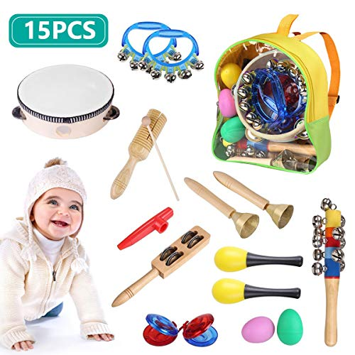 JEROOP Toddler Musical Instruments, 15 Pieces Kids Percussion Drums Toys Rhythm Band Set with Carrying Bag, Educational Early Learning Music Toys for Children