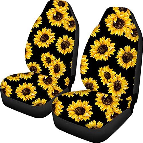Fundas de asiento de coche con estampado de girasol, 2 piezas para asiento delantero, compatible con la mayoría de coches, sedán, tronco, SUV o furgoneta airbag