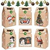 heekpek 24 Cajas de Navidad Bolsas de Regalo Kraft con Mango Bolsas de Navidad Calendario de Adviento Decoración de Regalos para Navidad Fiesta