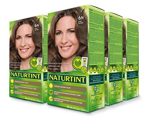 Naturtint Permanent Hair Color 6N Dark Blonde (Pack of 6), Ammonia Free, Vegan, Cruelty Free, up to 100% Gray Coverage, Long Lasting Results